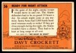1956 Topps Davy Crockett #56 ORG  Ready for Night Attack  Back Thumbnail