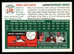 1954 Topps Archives #128  Hank Aaron  Back Thumbnail