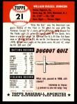 1953 Topps Archives #21  Billy Johnson  Back Thumbnail