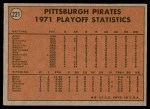 1972 Topps #221   -  Willie Stargell / Jackie Hernandez 1971 NL Playoffs - Bucs Champs Back Thumbnail