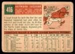1959 Topps #416 xCRL Haywood Sullivan  Back Thumbnail