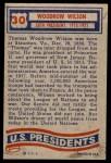 1956 Topps U.S. Presidents #30  Woodrow Wilson  Back Thumbnail