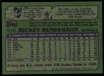 1982 Topps #610  Rickey Henderson  Back Thumbnail