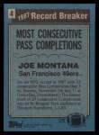 1988 Topps #4   -  Joe Montana Record Breaker Back Thumbnail