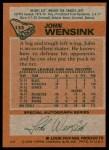 1978 Topps #133  John Wensink  Back Thumbnail