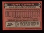 1986 Topps #10  Tony Gwynn  Back Thumbnail