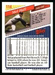1993 Topps #114  Mel Hall  Back Thumbnail