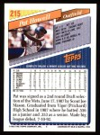 1993 Topps #215  Pat Howell  Back Thumbnail