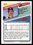 1993 Topps #314  Mark Gardner  Back Thumbnail