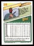1993 Topps #318  Willie Wilson  Back Thumbnail