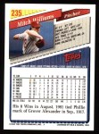 1993 Topps #235  Mitch Williams  Back Thumbnail