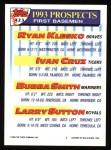 1993 Topps #423  Ryan Klesko  Back Thumbnail