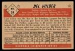 1953 Bowman Black and White #24  Del Wilber  Back Thumbnail