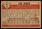 1953 Bowman Black and White #45  Irv Noren  Back Thumbnail