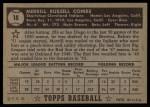 1952 Topps #18 BLK Merrill Combs  Back Thumbnail