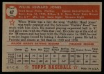 1952 Topps #47 RED Willie Jones  Back Thumbnail