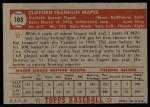 1952 Topps #103  Cliff Mapes  Back Thumbnail