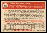 1952 Topps #150 CRM Ted Beard  Back Thumbnail