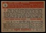1952 Topps #13 RED John Wyrostek  Back Thumbnail
