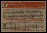 1952 Topps #26 RED Monte Irvin  Back Thumbnail