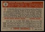 1952 Topps #32 RED Eddie Robinson  Back Thumbnail