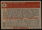 1952 Topps #40 RED Irv Noren  Back Thumbnail