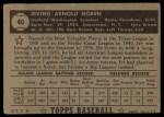 1952 Topps #40 BLK Irv Noren  Back Thumbnail