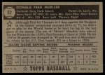 1952 Topps #52 BLK Don Mueller  Back Thumbnail