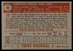 1952 Topps #53  Chris Van Cuyk  Back Thumbnail