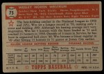 1952 Topps #75 RED Wes Westrum  Back Thumbnail