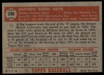 1952 Topps #230  Matt Batts  Back Thumbnail