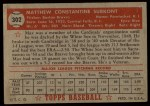 1952 Topps #302  Max Surkont  Back Thumbnail