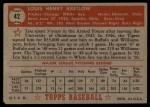 1952 Topps #42 RED Lou Kretlow  Back Thumbnail