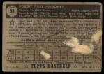 1952 Topps #58 BLK Bob Mahoney  Back Thumbnail