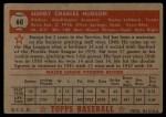 1952 Topps #60 RED Sid Hudson  Back Thumbnail