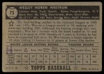 1952 Topps #75  Wes Westrum  Back Thumbnail