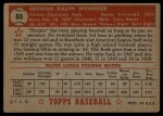 1952 Topps #80 RED Herm Wehmeier  Back Thumbnail