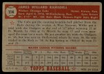 1952 Topps #114  Willard Ramsdell  Back Thumbnail