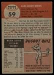 1953 Topps #59  Karl Drews  Back Thumbnail