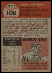 1953 Topps #108  Bob Porterfield  Back Thumbnail