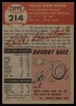 1953 Topps #214  Billy Bruton  Back Thumbnail