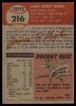 1953 Topps #216  Jim Hughes  Back Thumbnail