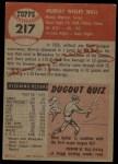 1953 Topps #217  Murray Wall  Back Thumbnail