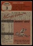 1953 Topps #3  George Crowe  Back Thumbnail