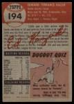 1953 Topps #194  Eddie Kazak  Back Thumbnail