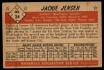 1953 Bowman #24  Jackie Jensen  Back Thumbnail
