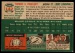 1954 Topps #142  Tom Poholsky  Back Thumbnail