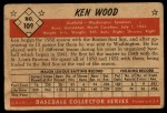 1953 Bowman #109  Ken Wood  Back Thumbnail
