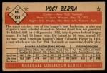 1953 Bowman #121  Yogi Berra  Back Thumbnail
