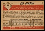 1953 Bowman #5  Sid Gordon  Back Thumbnail